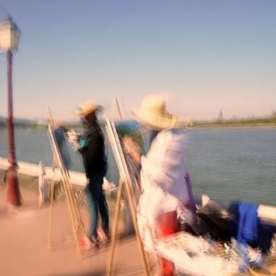 La Bouille. Peintres en bord de Seine. Poème La Seine. Tirage unique disponible