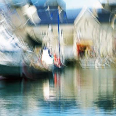 Port-en-Bessin. Le port. Poème Retour. Tirage unique 90/60cm disponible