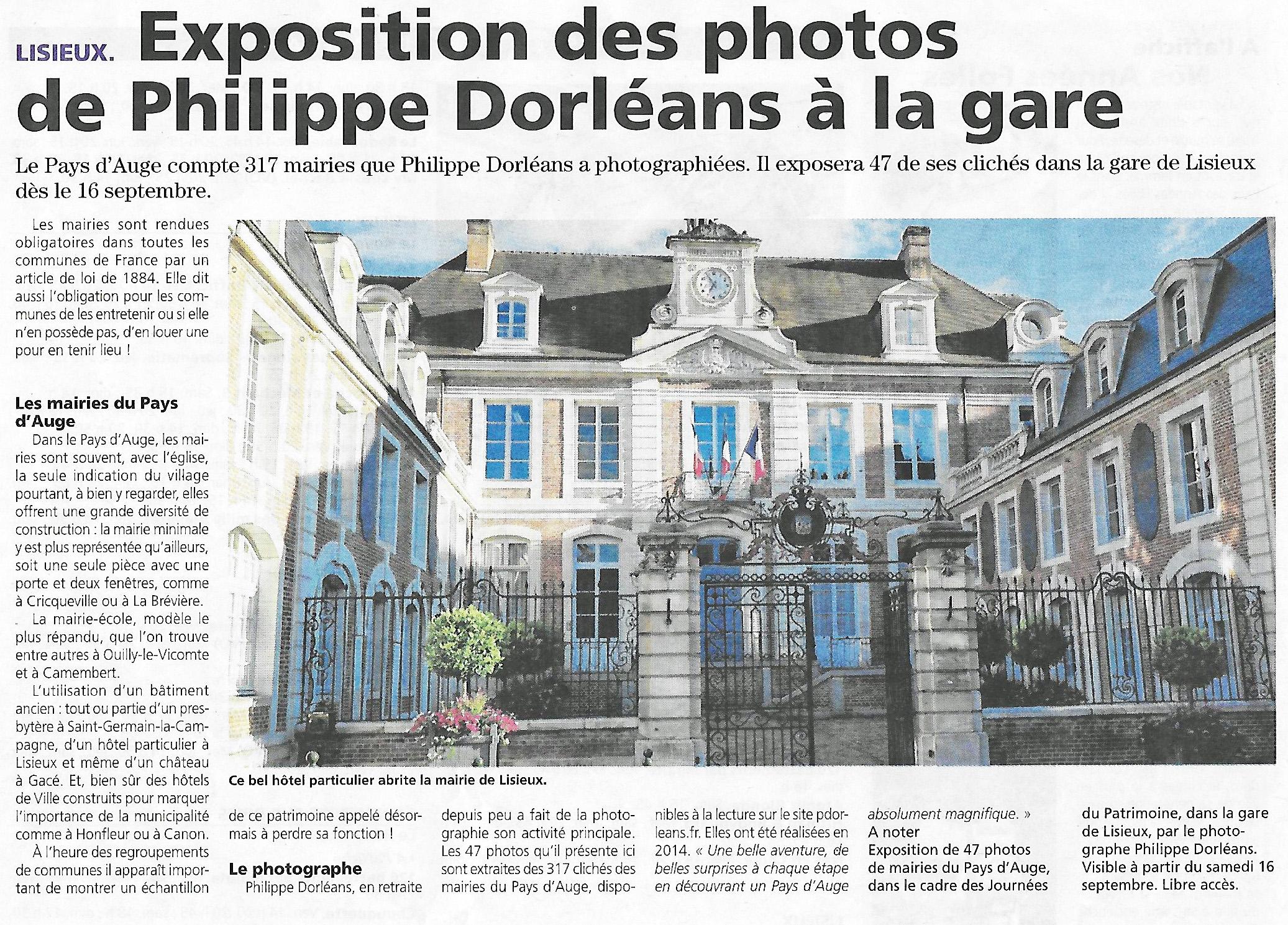 articles sur l 39 exposition toutes les mairies du pays d 39 auge la gare de lisieux philippe. Black Bedroom Furniture Sets. Home Design Ideas
